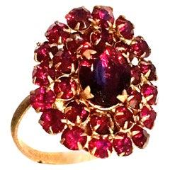 Mid-20th Century Gold & Rose Cut Garnet Ring