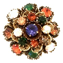 Mid-20th Century Gold Vermeil Dimensional Austrian Crystal Brooch By, Coro