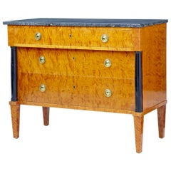 Mid-20th Century Golden Birch Marble-Top Chest of Drawers