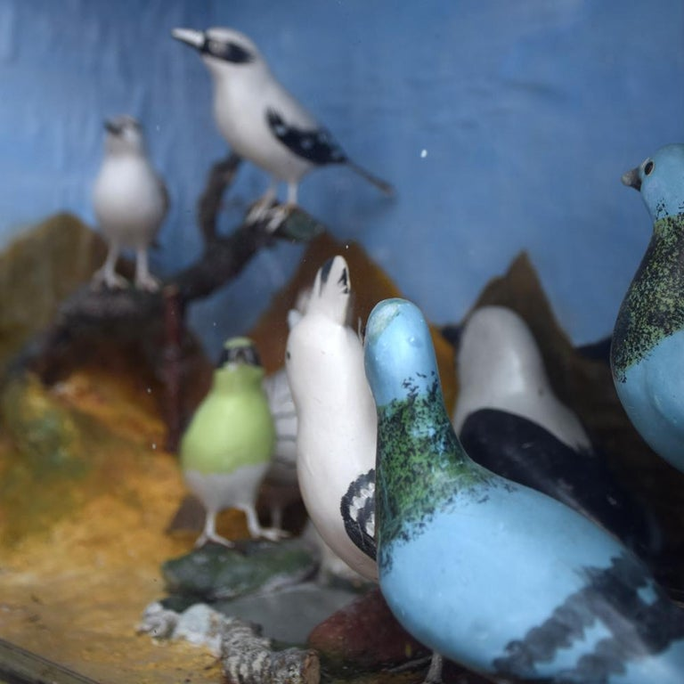 Mid-20th Century Hand Carved Folk Art Bird Diorama with Authentication Stamp For Sale 5