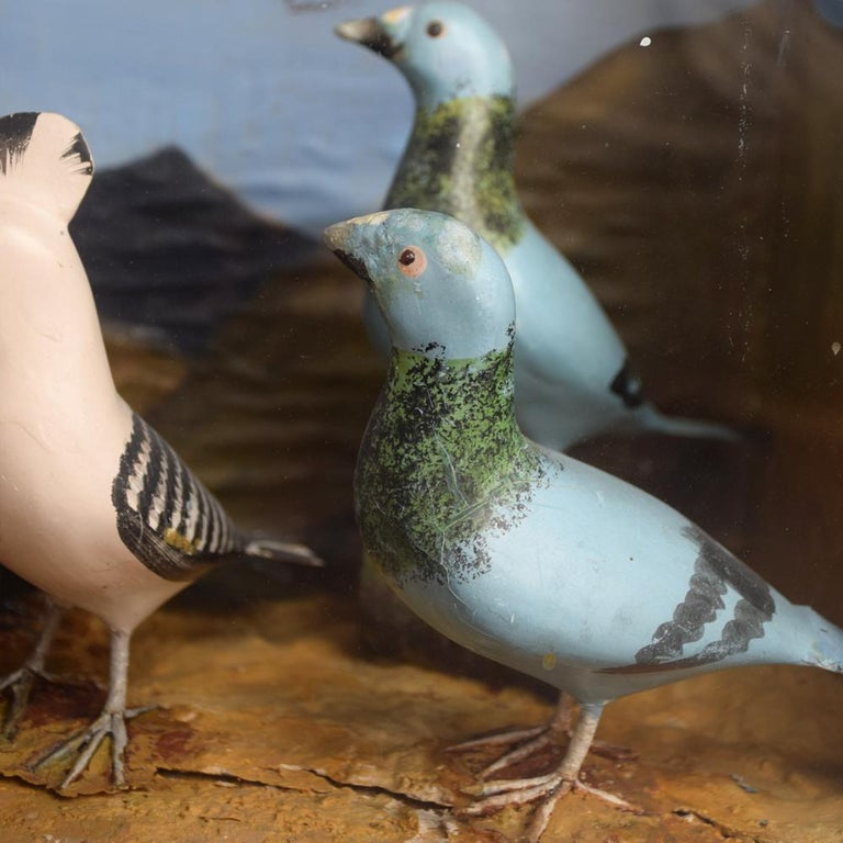 Mid-20th Century Hand Carved Folk Art Bird Diorama with Authentication Stamp For Sale 8