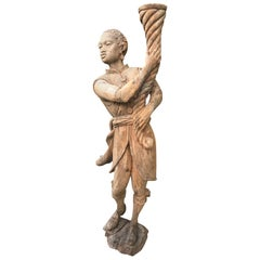 Mid-20th Century Hand Carved Stripped Eastern Figure