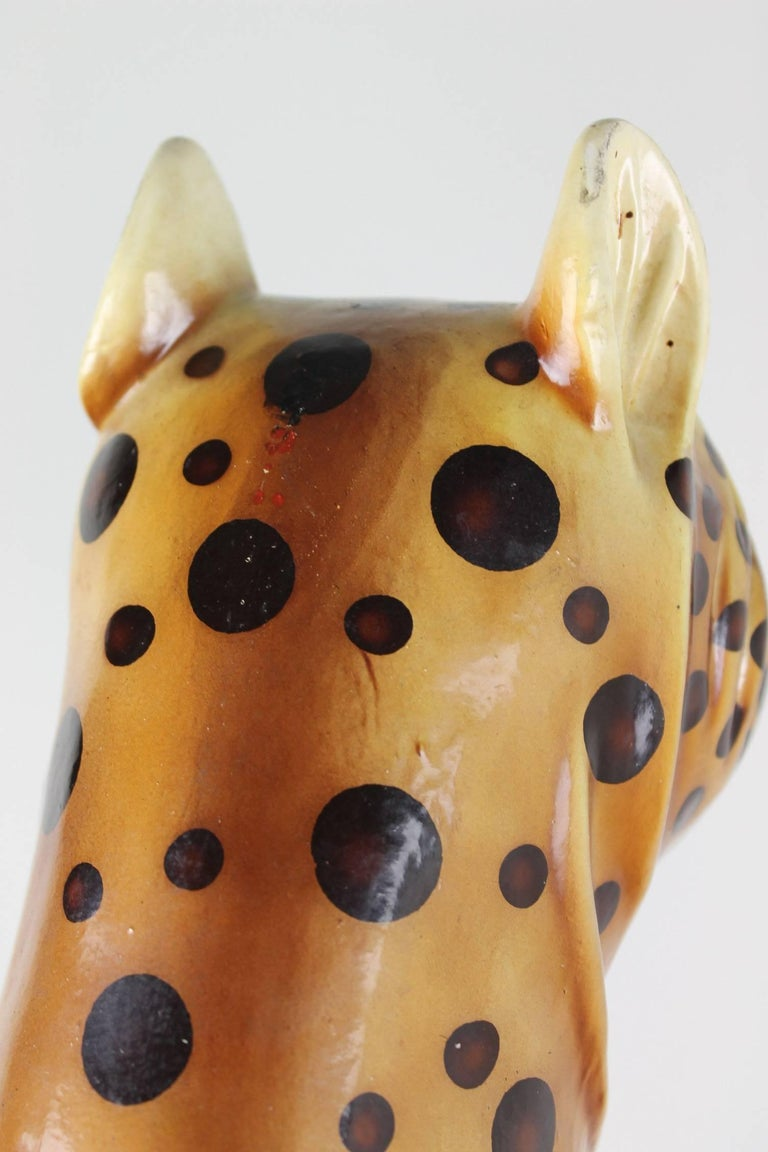 Mid-20th Century Hand-Painted Cheetah Ceramic Sculpture For Sale 6