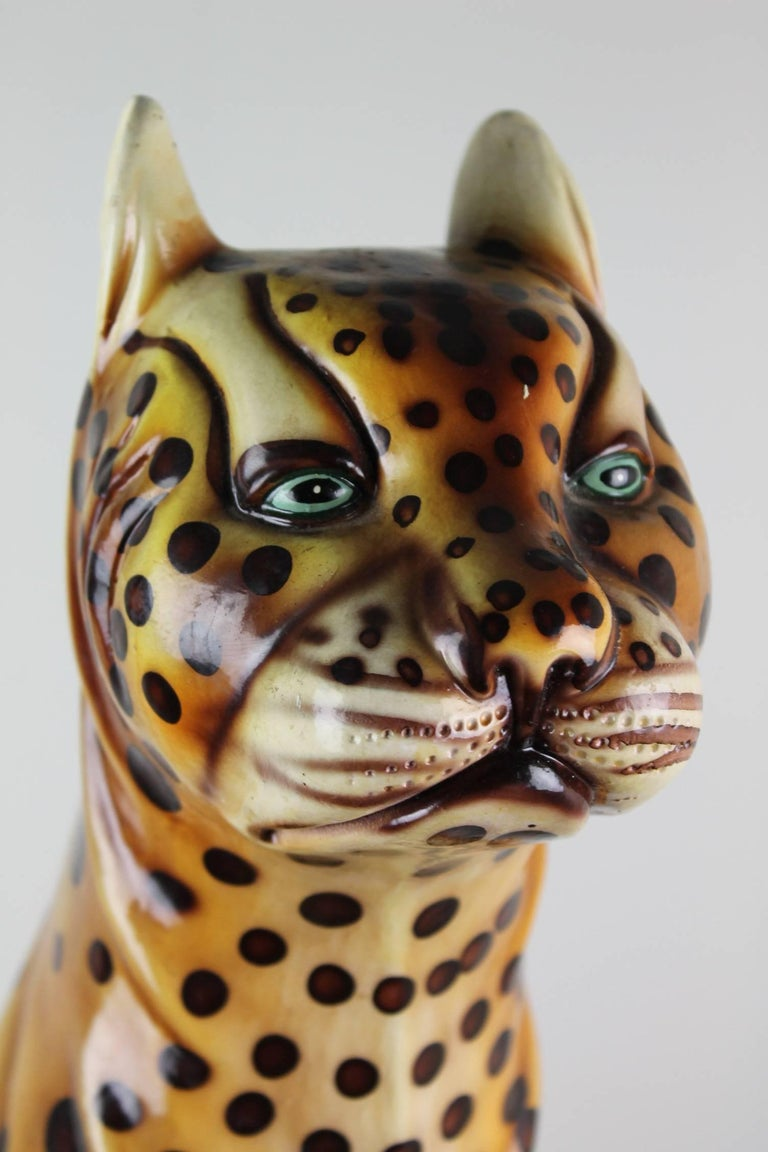 Hollywood Regency Mid-20th Century Hand-Painted Cheetah Ceramic Sculpture For Sale