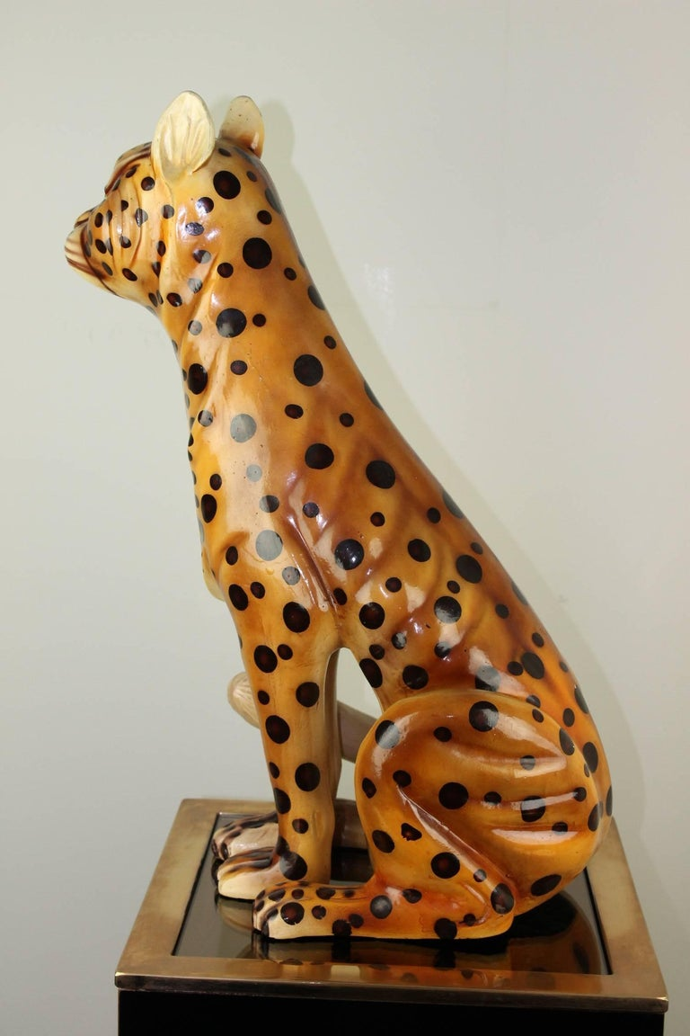 Mid-20th Century Hand-Painted Cheetah Ceramic Sculpture For Sale 2