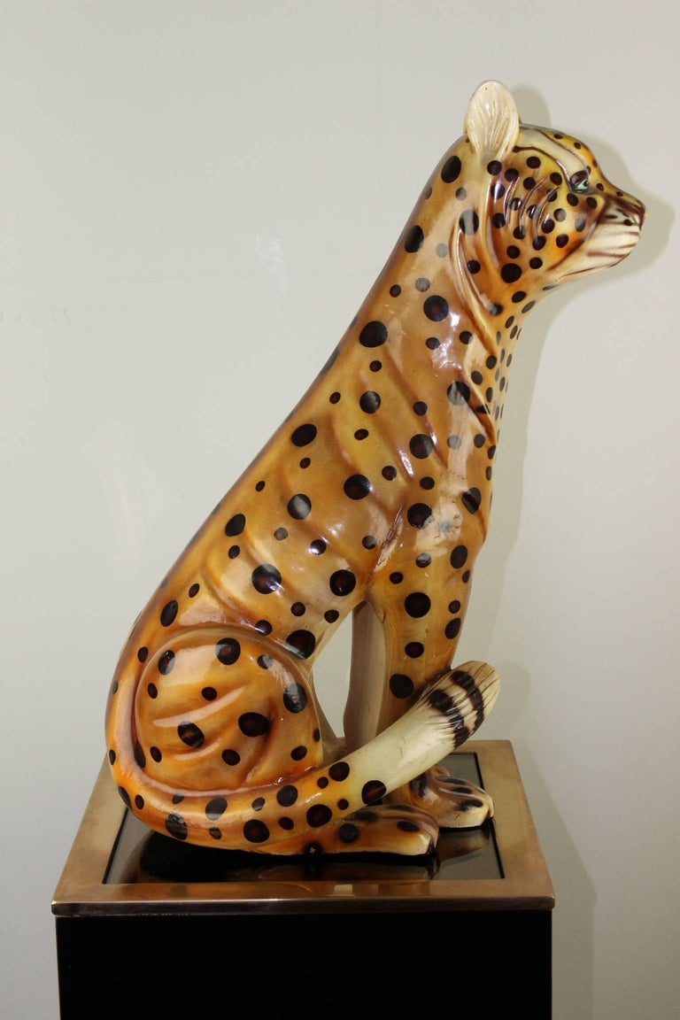 Mid-20th Century Hand-Painted Cheetah Ceramic Sculpture For Sale 4