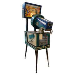 Mid-20th Century Hand Painted Cowboys & Indians Working Gatling Gun Arcade Game