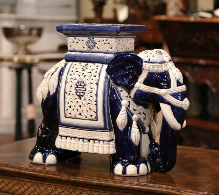Mid-20th Century Hand Painted Faience Elephant Garden Seat In Excellent Condition For Sale In Dallas, TX