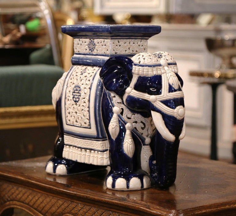Mid-20th Century Hand Painted Faience Elephant Garden Seat For Sale 1