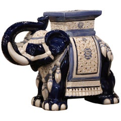 Mid-20th Century Hand Painted Faience Elephant Garden Seat
