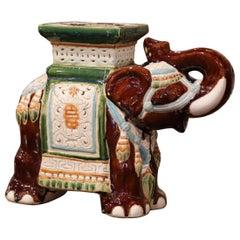 Mid-20th Century Hand Painted Faience Elephant Garden Seat