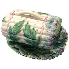 Spectacular Hand Painted Majolica Asparagus Large Boot-Shaped with Dish