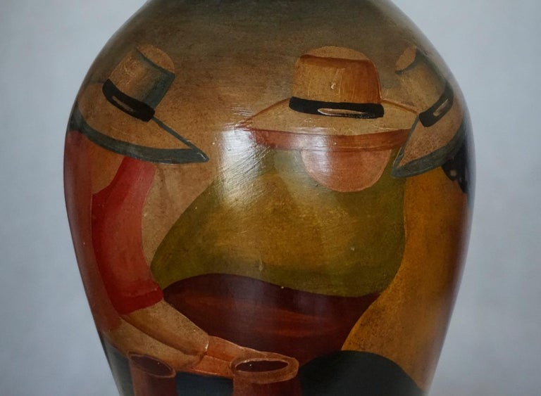 Mid-20th Century Handcrafted Terracotta Jar, Peruvian Folk Art Painting For Sale 2