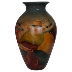 Mid-20th Century Handcrafted Terracotta Jar, Peruvian Folk Art Painting