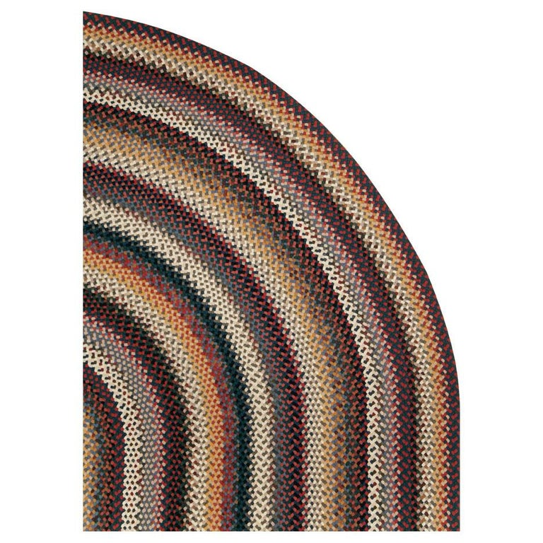 American Classical Mid-20th Century Handmade American Braided Large Oval Carpet For Sale