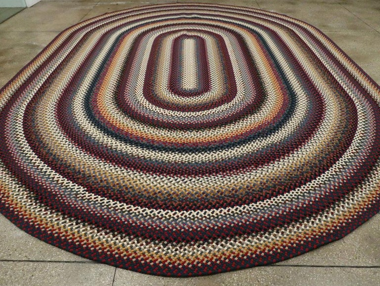 Hand-Knotted Mid-20th Century Handmade American Braided Large Oval Carpet For Sale