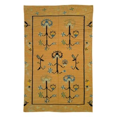 Mid-20th Century Handmade Bessarabian Flat-Weave Accent Rug in Mustard Yellow