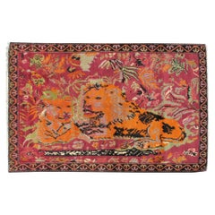 Mid-20th Century Handmade Caucasian Karabagh Pictorial Lion Accent Rug