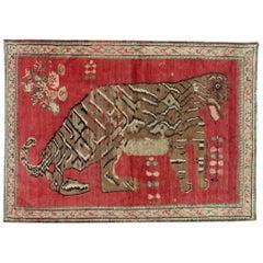 Mid-20th Century Handmade Caucasian Karabagh Tiger Pictorial Accent Rug