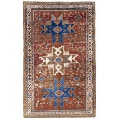 Mid-20th Century Handmade Caucasian Kazak Tribal Accent Rug