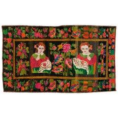 Mid-20th Century Handmade Caucasian Pictorial Karabagh Accent Rug