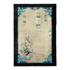 Mid-20th Century Handmade Chinese Scatter Rug in Beige, Black, Blue-Green