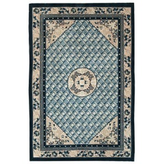 Mid-20th Century Handmade Chinese Accent Rug in Cerulean Blue and Cream