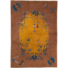 Mid-20th Century Handmade Chinese Art Deco Accent Rug in Yellow and Terracotta
