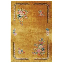 Mid-20th Century Handmade Chinese Art Deco Large Room Size Carpet in Goldenrod