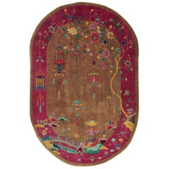 Mid-20th Century Handmade Chinese Art Deco Oval Room Size Accent Rug
