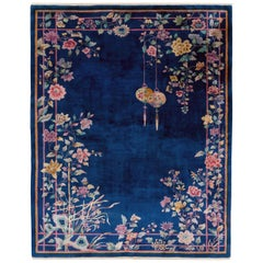 Mid-20th Century Handmade Chinese Art Deco Room Size Carpet in Blue
