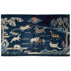 Mid-20th Century Handmade Chinese Deco Pictorial Accent Rug of Horses