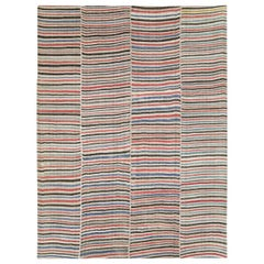 Mid-20th Century Handmade Colorful Persian Flat-Weave Kilim Accent Rug