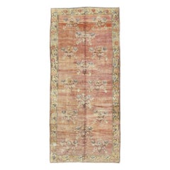 Mid-20th Century Handmade European Inspired Turkish Gallery Accent Rug