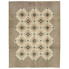 Mid-20th Century Handmade French Moderne Accent Rug by Leleu