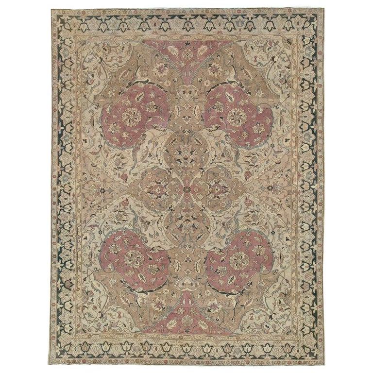 Mid-20th Century Handmade Indian Lahore Room Size Carpet, circa 1930 For Sale