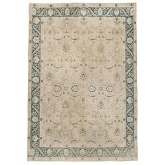 Mid-20th Century Handmade Persian Accent Rug in Cream Nude and Dark Blue-Green