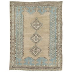 Mid-20th Century Handmade Persian Afshar Accent Rug in Light Grey and Cream