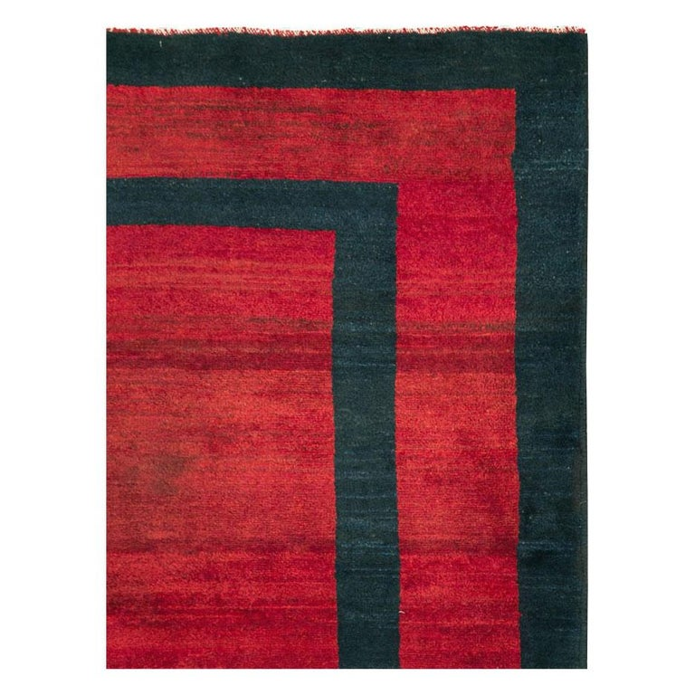 Hand-Knotted Mid-20th Century Handmade Persian Art Deco Accent Rug in Red For Sale