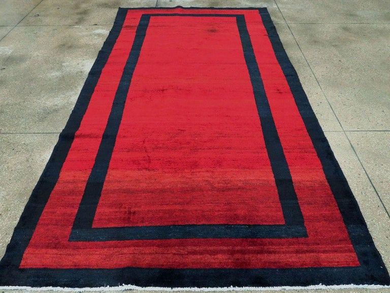Mid-20th Century Handmade Persian Art Deco Accent Rug in Red In Excellent Condition For Sale In New York, NY