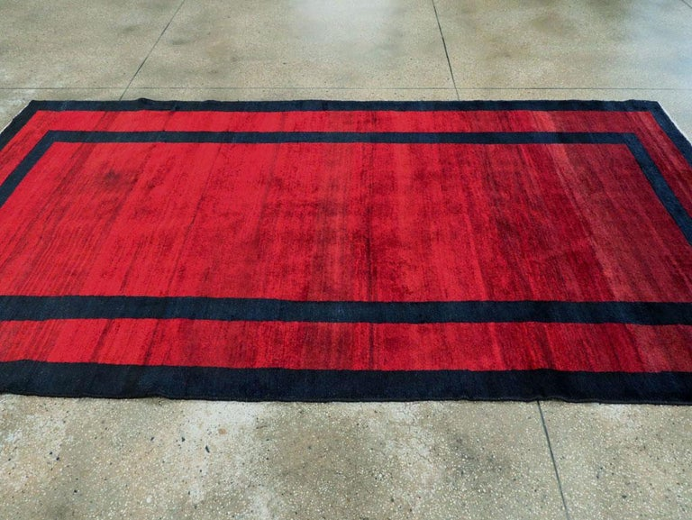Mid-20th Century Handmade Persian Art Deco Accent Rug in Red For Sale 2