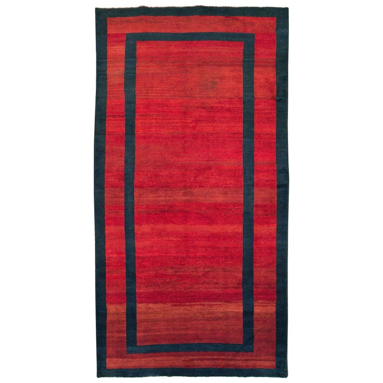 Mid-20th Century Handmade Persian Art Deco Accent Rug in Red For Sale