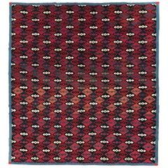 Mid-20th Century Handmade Persian Flat-Weave Kilim Square Room Size Carpet