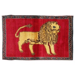 Mid-20th Century Handmade Persian Gabbeh Pictorial Lion Accent Rug