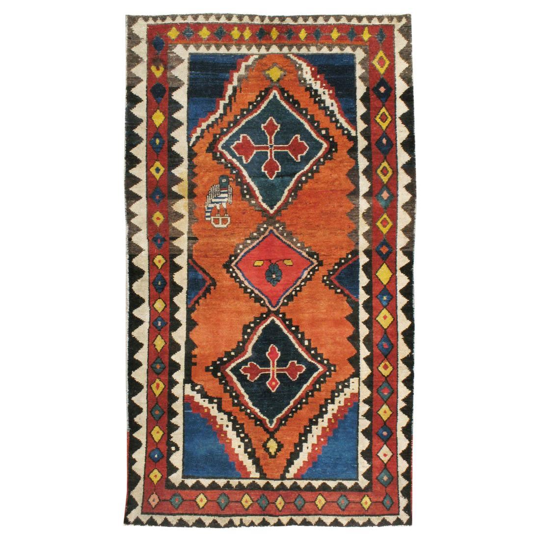 Mid-20th Century Handmade Persian Gabbeh Tribal Accent Rug