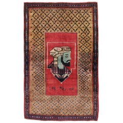 Mid-20th Century Handmade Persian Hamadan Pictorial Accent Rug