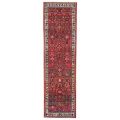 Mid-20th Century Handmade Persian Hamadan Runner Rug in Bright Vivid Colors