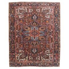 Mid-20th Century Handmade Persian Heriz Room Size Carpet