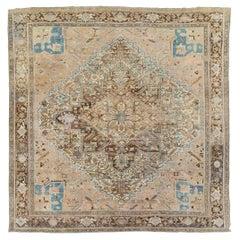 Mid-20th Century Handmade Persian Heriz Square Room Size Carpet