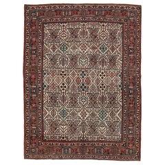 Mid-20th Century Handmade Persian Joshegan Room Size Carpet in Cream and Red